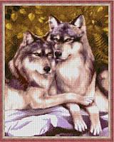 Вышивка бисером, Канва животные Пара волков