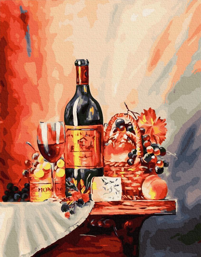 Картина рисование по номерам BrushMe Винная полка BRM26125 40х50 см Для кухни набор для росписи краски, кисти,