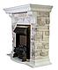 Камінокомплект Fireplace Сінгапур Білий + Сірий 2D технологія полум'я з обігрівом зі звуком, фото 2