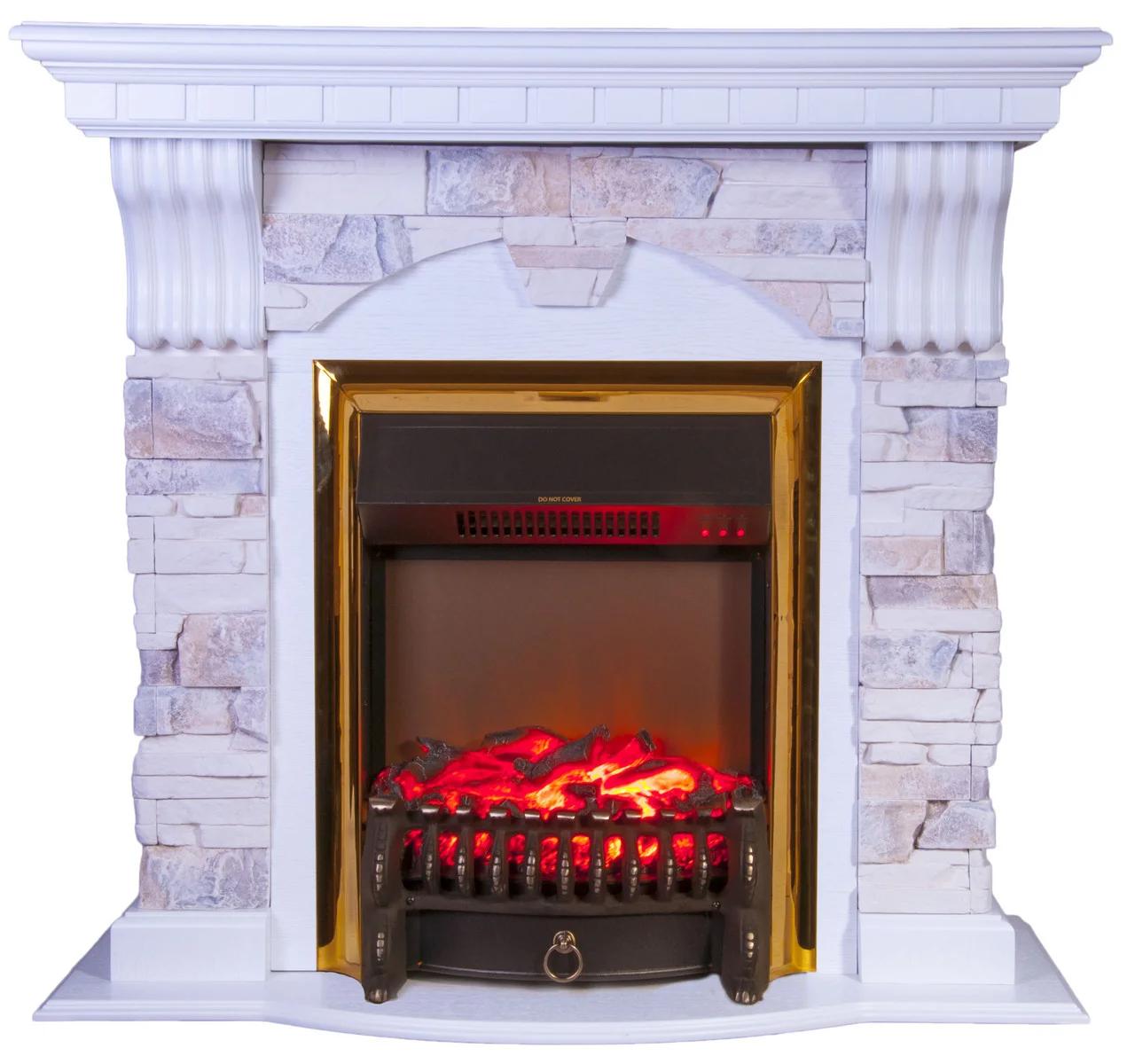 Камінокомплект Fireplace Сінгапур Білий + Сірий 2D технологія полум'я з обігрівом зі звуком