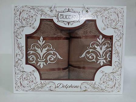 Набор полотенец Gulcan Delphine brown 50х90 + 70х140, фото 2