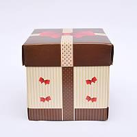 Подарочная упаковка для чашки Коричневая с принтом
