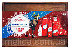 Набор Old Spice Whitewater в деревянной коробке(лосьон после бритья+гель для душа+дезодорант спрей+дезодорант)