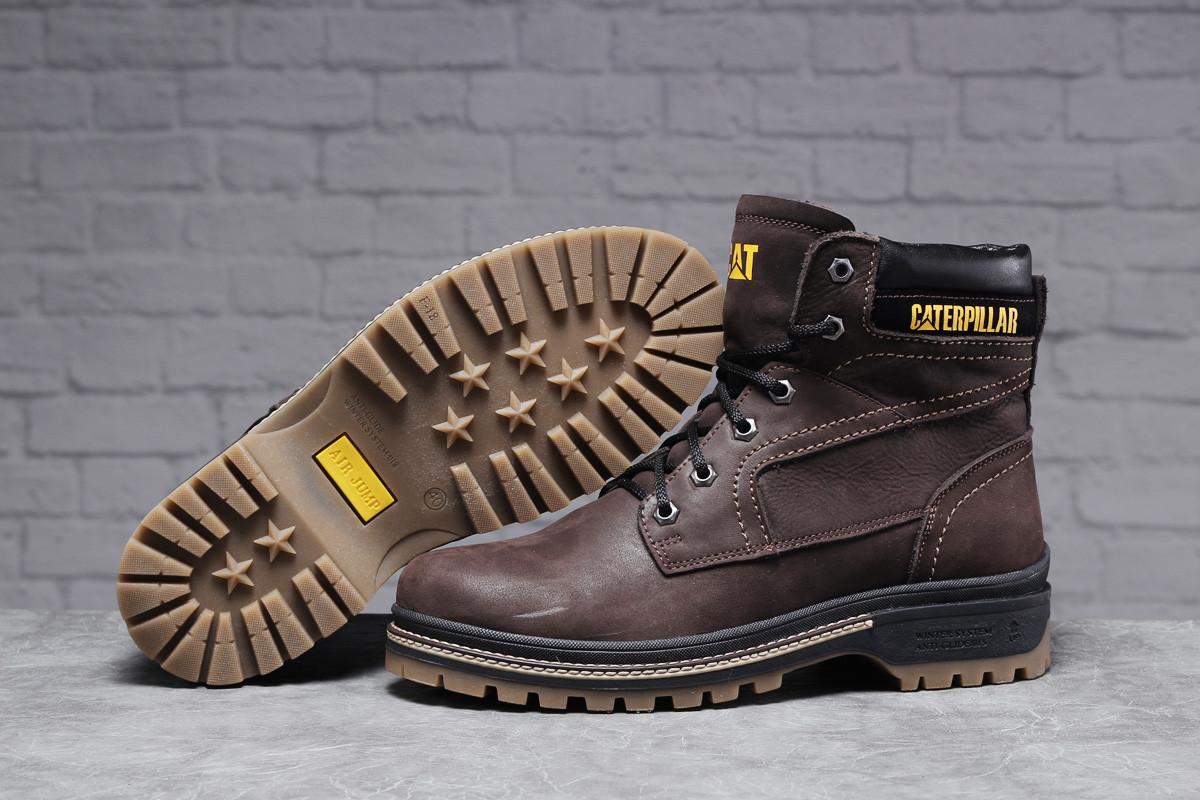 Зимние мужские ботинки CAT Caterpilar Anti-Glide (на меху) коричневые  42