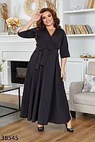 Черное длинное платье на запах с V-образным вырезом с 46 по 60 размер, фото 2