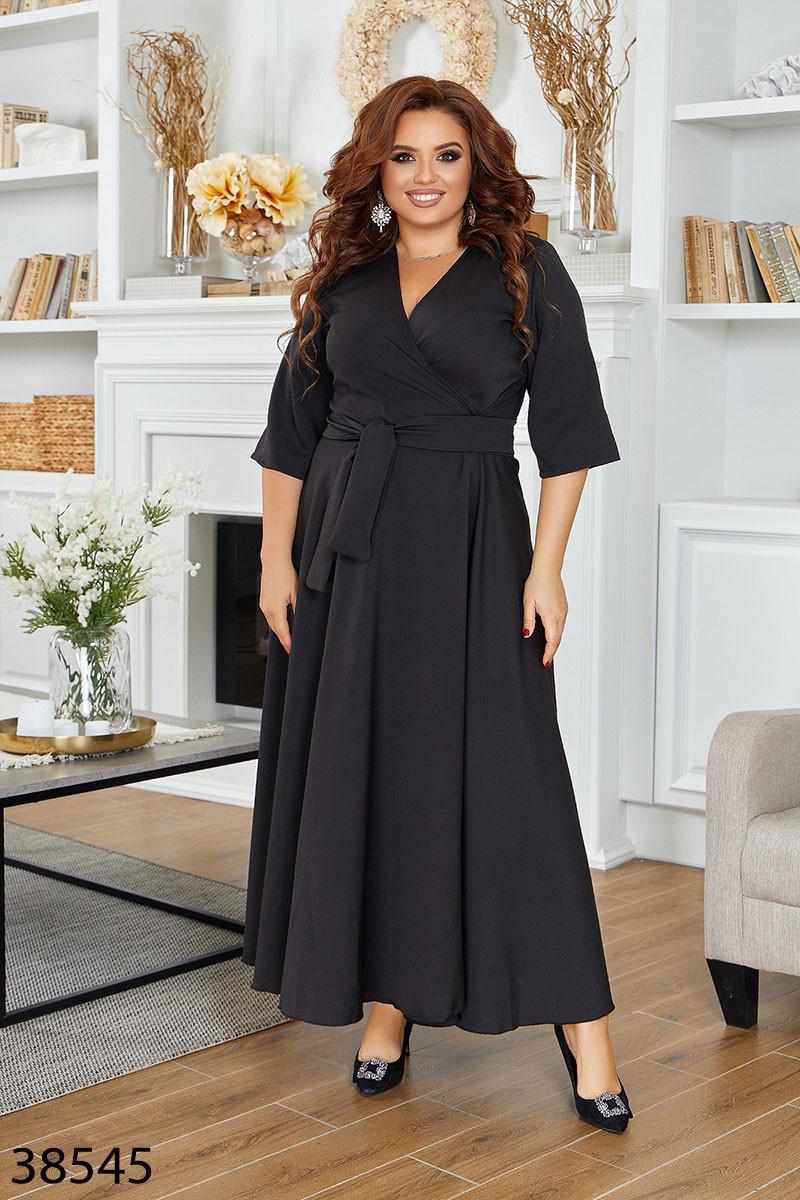 Черное длинное платье на запах с V-образным вырезом с 46 по 60 размер