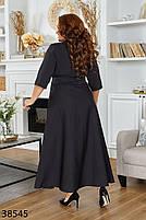 Черное длинное платье на запах с V-образным вырезом с 46 по 60 размер, фото 3