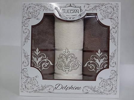 Набор полотенец Gulcan Delphine 3-ка коричневый, фото 2
