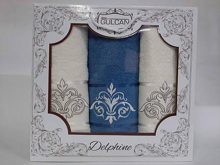 Набор полотенец Gulcan Delphine 3-ка голубой, фото 2