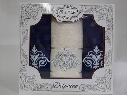 Набор полотенец Gulcan Delphine 3-ка синий, фото 2