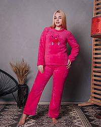 Женская махровая пижама малинового цвета с мишкой