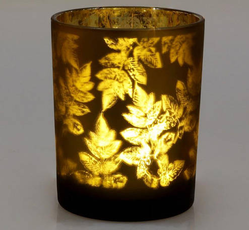 Подсвечник стеклянный Листья 10х12.5 см, коричневый Bona BD-549-133, фото 2