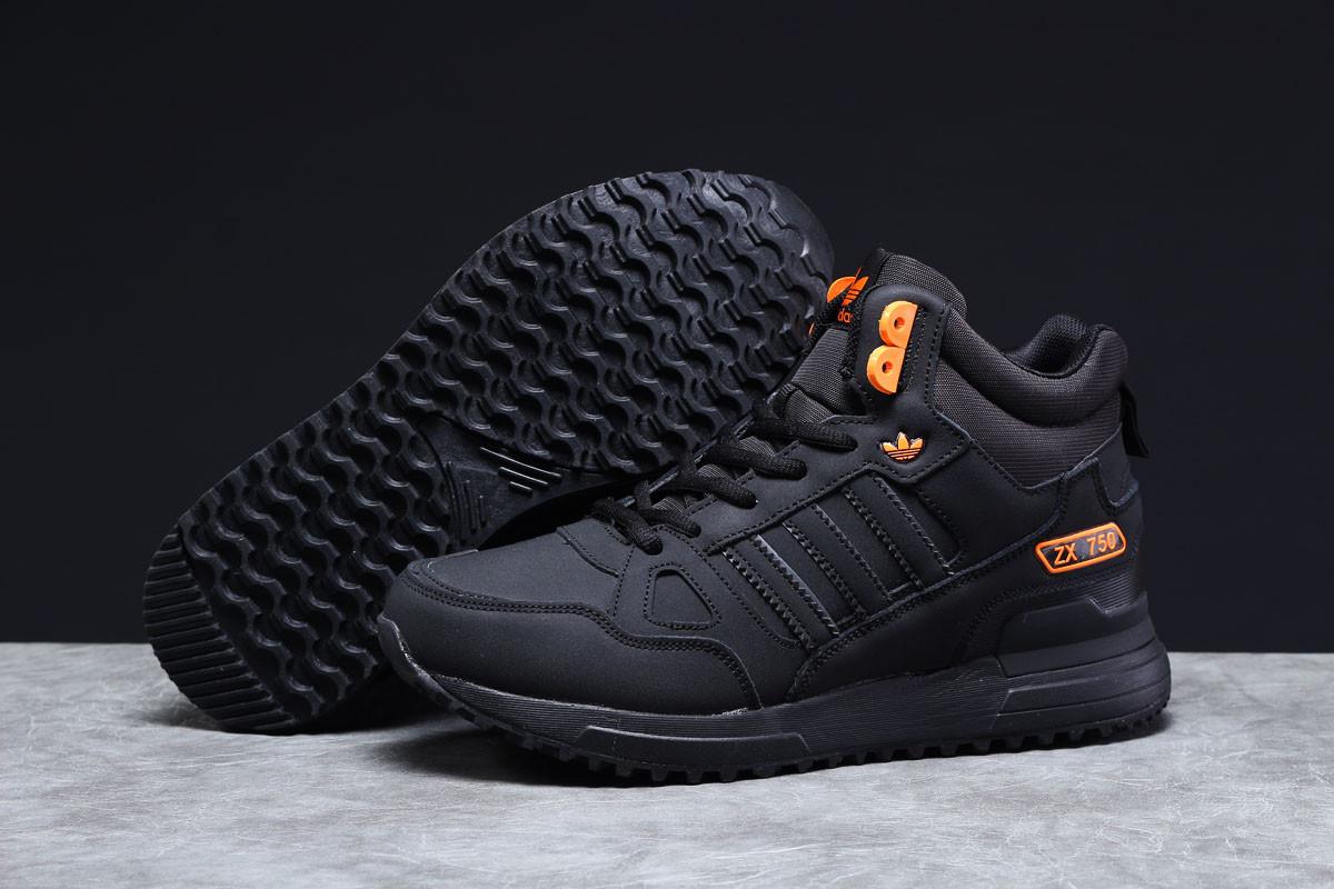 Зимние мужские кроссовки Adidas ZX 750 (на меху) черные