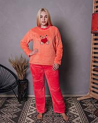 Женская махровая пижама кораллового цвета с мишкой
