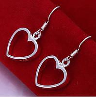 Сріблясті сережки Контур серця, фото 1