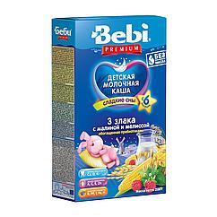 Молочна каша Bebi Premium 3 злаки з малиною і мелісою, 6+, 200г