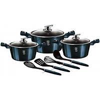 Набор кухонной посуды Berlinger Haus Aquamarine Edition 3 кастрюли и аксессуары