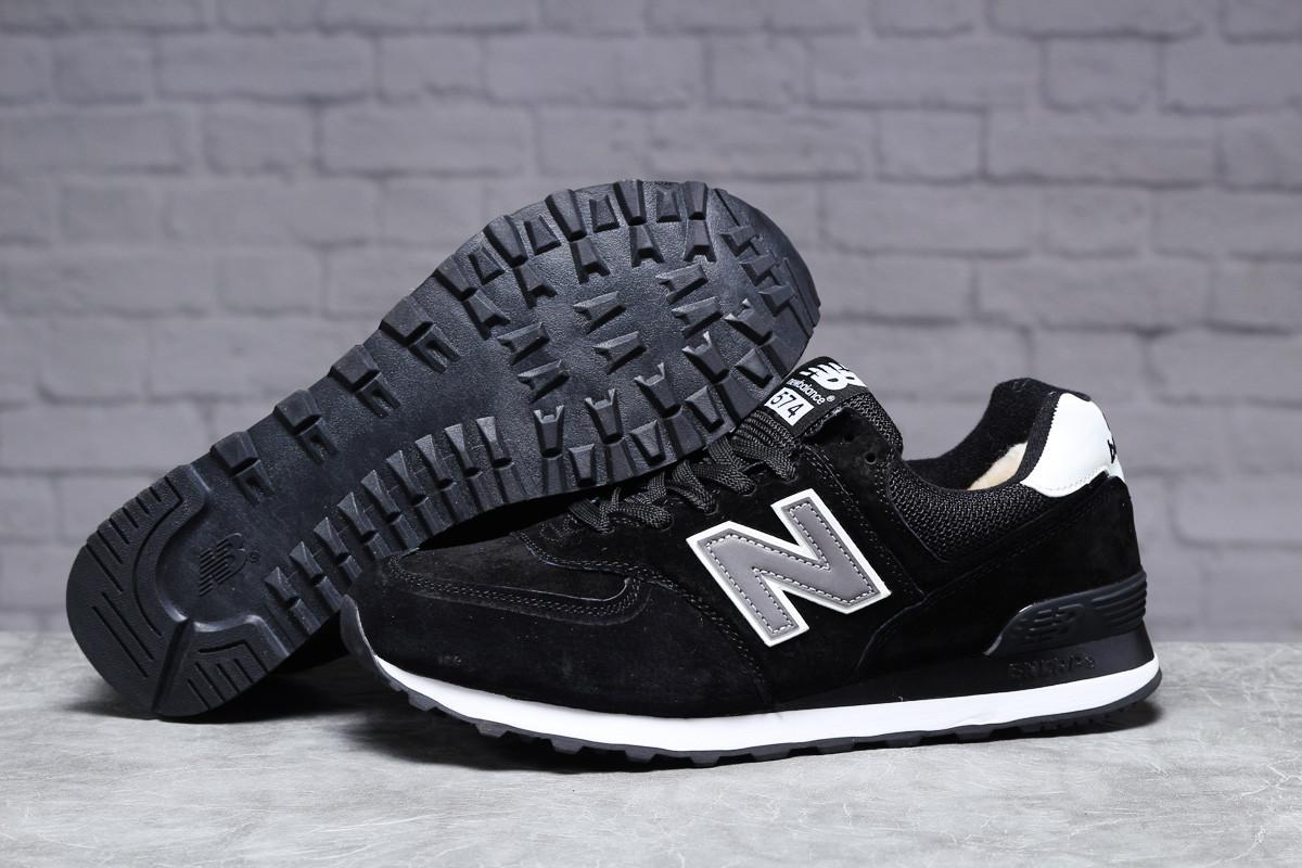 Зимние мужские кроссовки New Balance  574 (на меху) черные  46