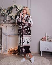 Женский махровый халат с оленями, размер S- XL