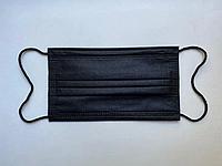 Медицинская маска Ель Меліна штампованная трехслойная, для лица с зажимом для носа 500 штук Черная (05-M-500)