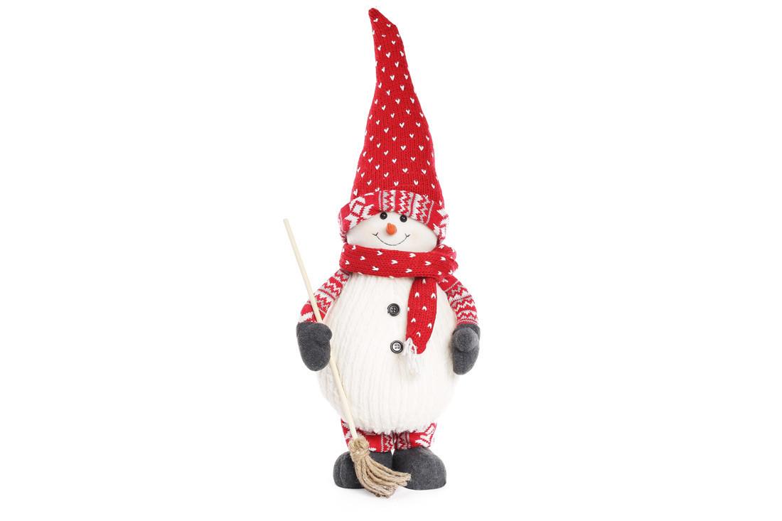 Мягкая новогодняя игрушка Снеговик с метлой 65см BonaDi 822-150
