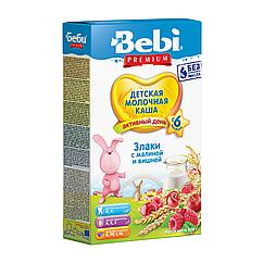 Молочна каша Bebi Premium 3 злаки з малиною і вишнею, 6+, 200г