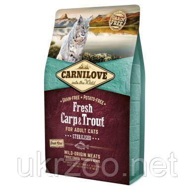Сухий корм Карнілав Фреш для дорослих стерилізованих кішок з коропом та фореллю, 2 кг, 170877