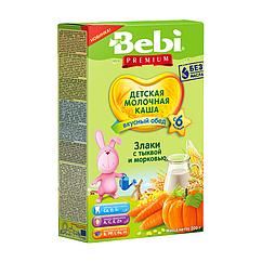Молочна каша Bebi Premium 3 злаки з гарбузом і морквою, 6+, 200г