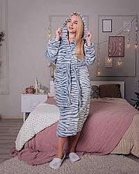 Жіночий махровий халат сірого кольору шиншила, розмір S - XL