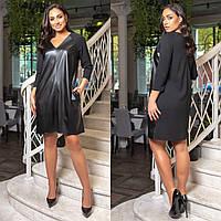 Женское прямое платье из вставками из эко-кожи батал, фото 1