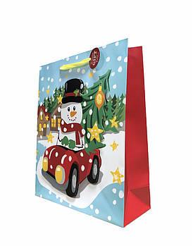 """Подарунковий новорічний пакет """"Сніговик"""" ALDI 32 х 26 х 10 см"""