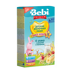 Молочна каша Bebi Premium 4 злаки з вишнею і бананом, 12+, 200г