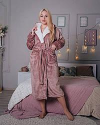 Довгий махровий халат жіночий кави з молоком, розмір S - XL