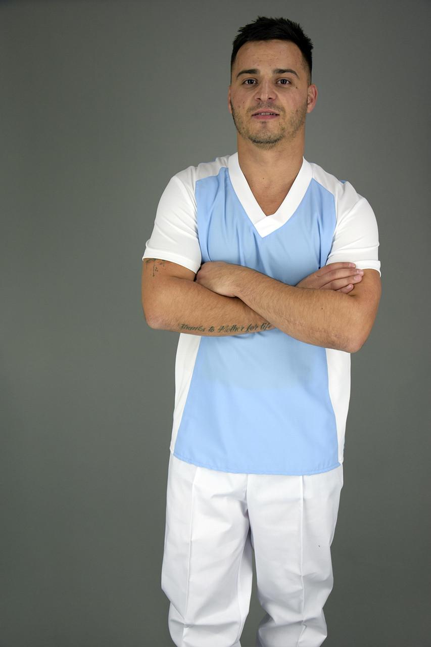 Футболка мужская бело голубая