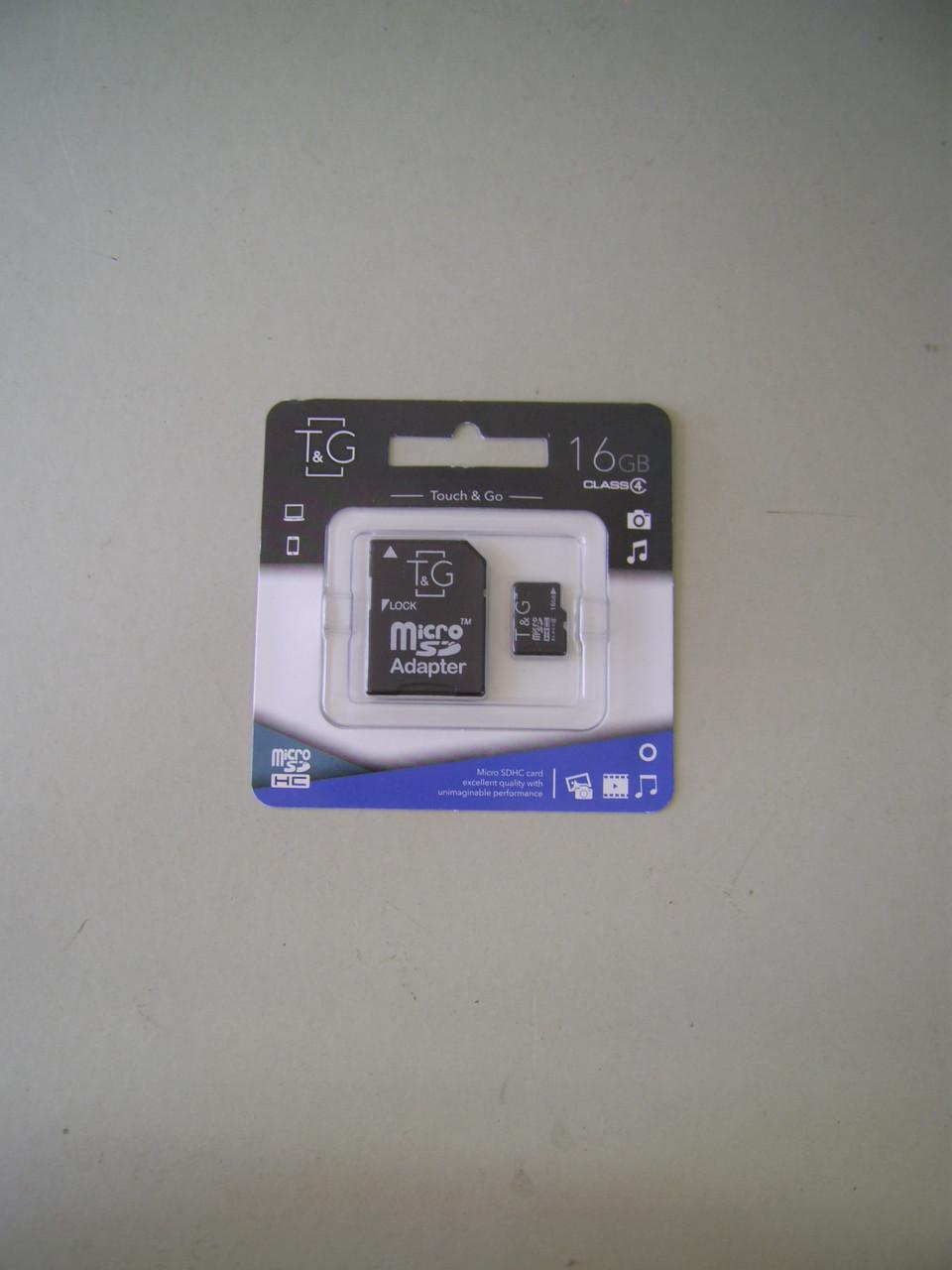 Карта памяти Micro SD 16Gb T&G Class4 с адаптером