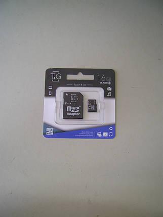 Карта памяти Micro SD 16Gb T&G Class4 с адаптером , фото 2