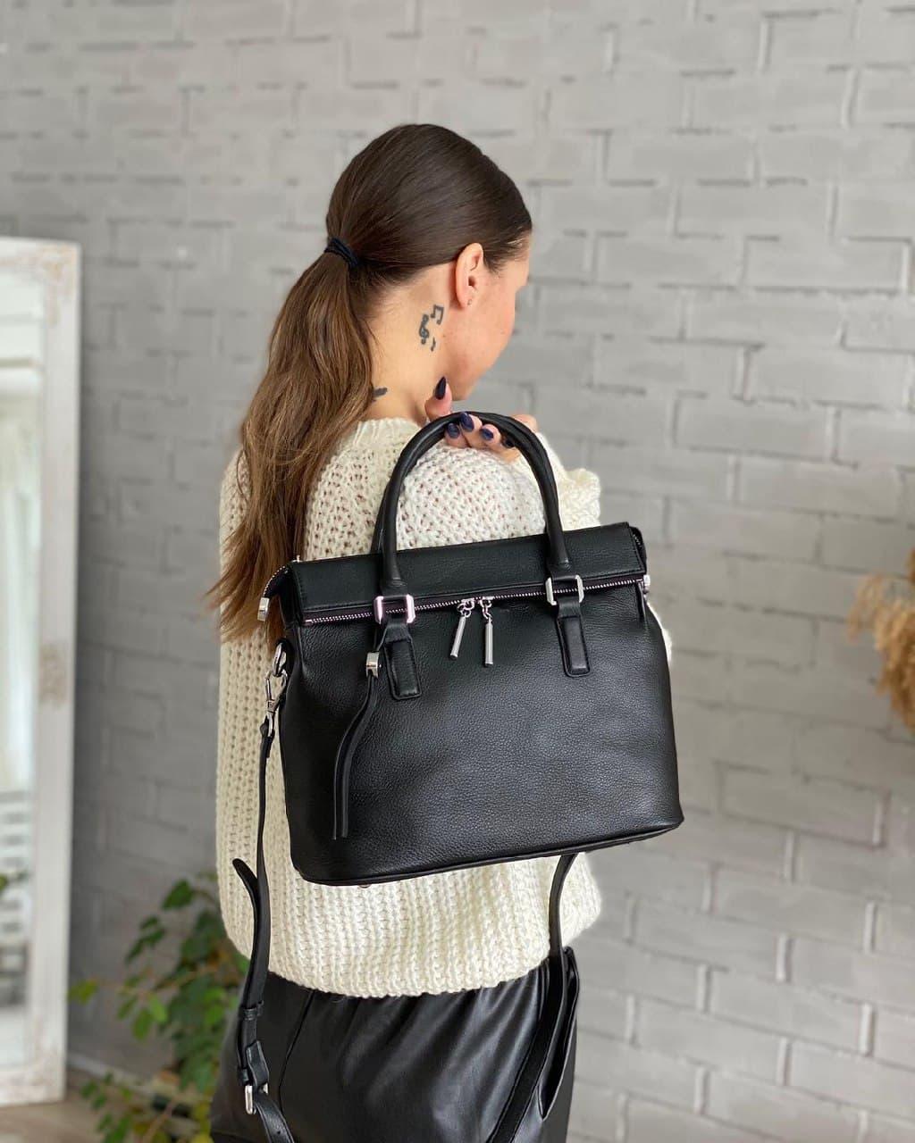 Женская кожаная сумка polina&eiterou черная