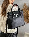 Женская кожаная сумка polina&eiterou черная, фото 3