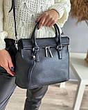 Женская кожаная сумка polina&eiterou черная, фото 2