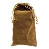 Коричневый подарочный мешок 17х30 см из иск. бархата для корпоративных подарков.