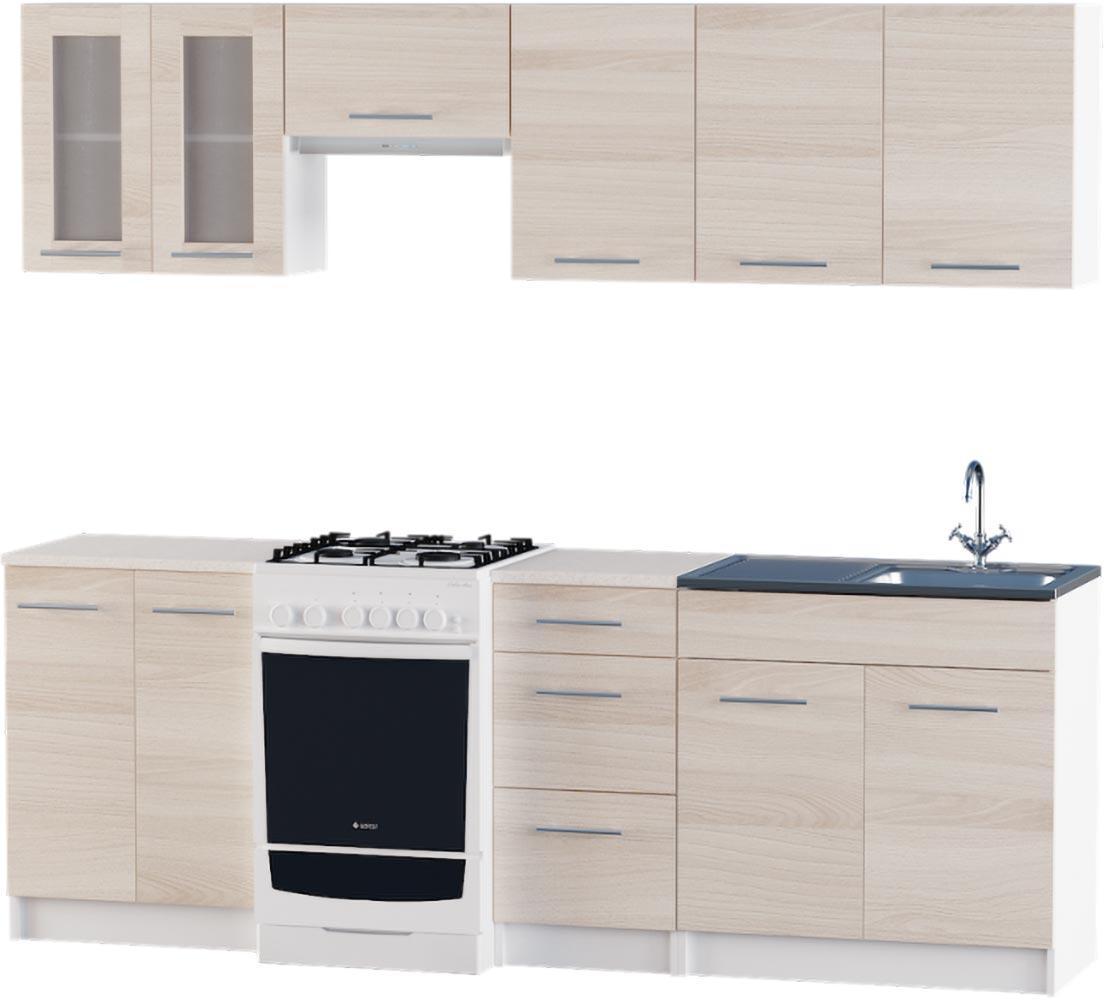 Кухня Эко №3 набор 2.3 м ЭВЕРЕСТ Белый + Шимо светлый, фото 1