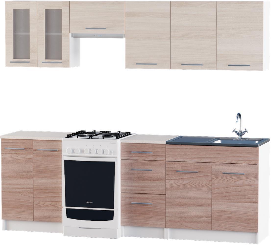 Кухня Эко №3 набор 2.3 м ЭВЕРЕСТ Белый + Шимо светлый, фото 4