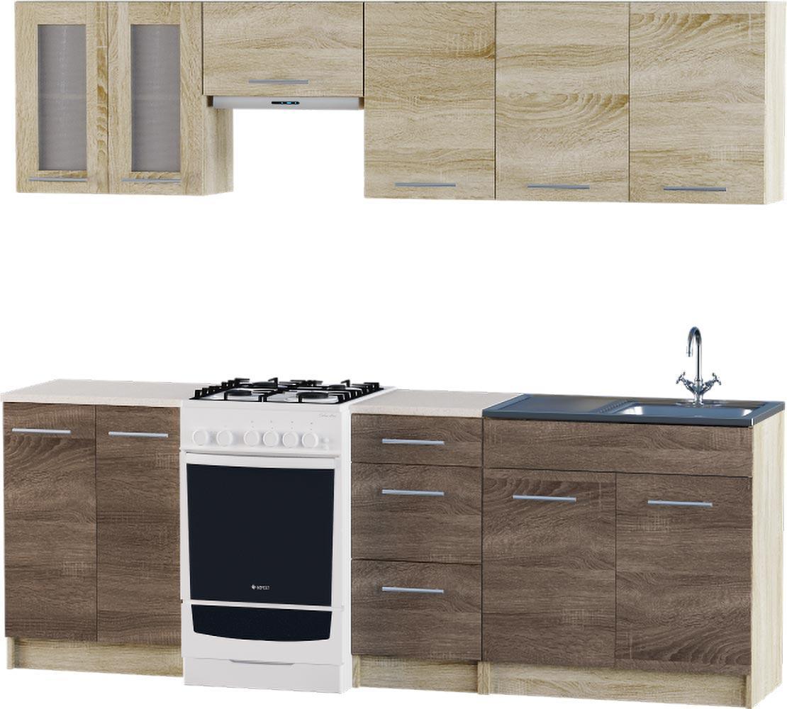Кухня Эко №3 набор 2.3 м ЭВЕРЕСТ Белый + Шимо светлый, фото 5