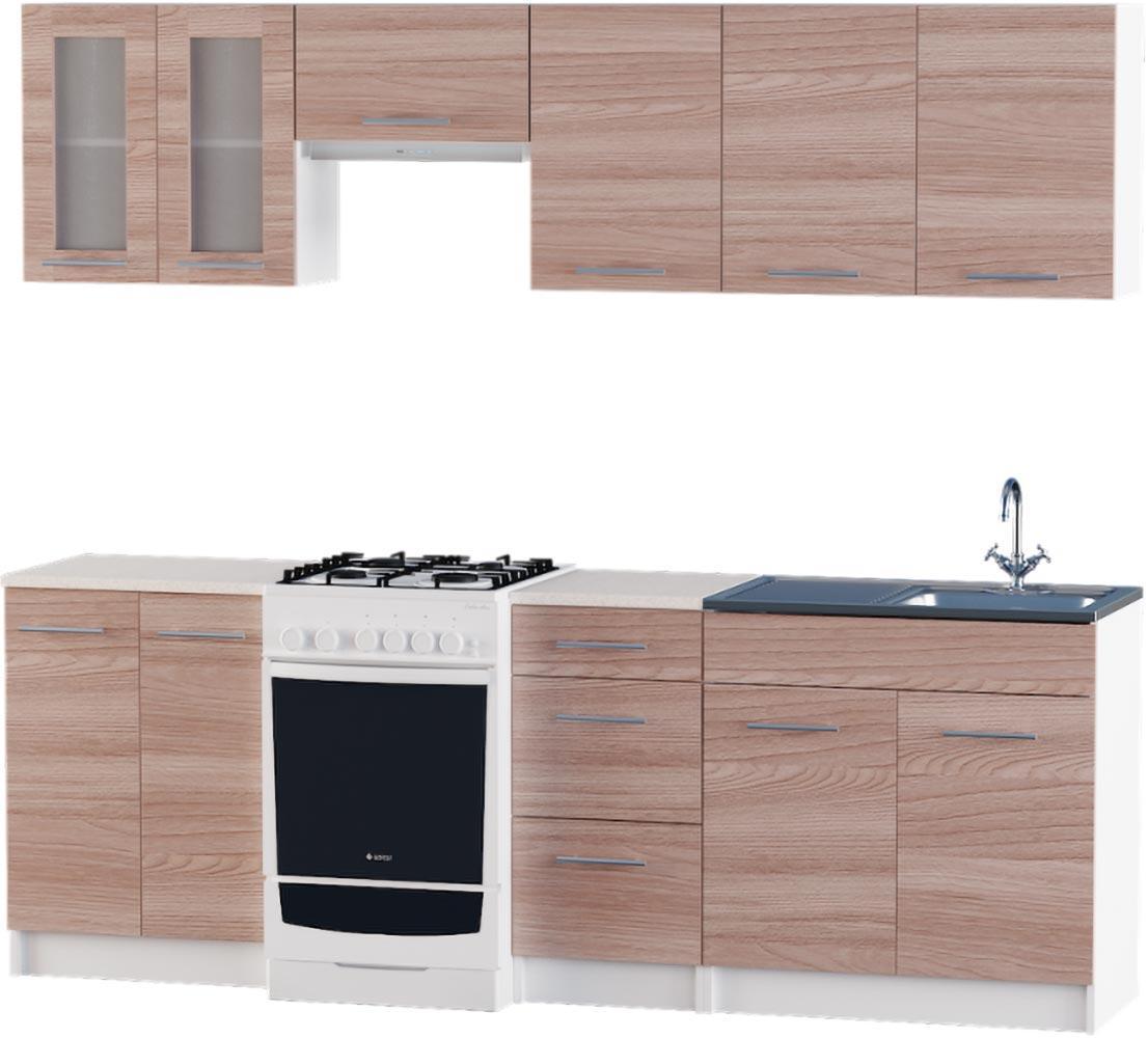 Кухня Эко №3 набор 2.3 м ЭВЕРЕСТ Белый + Шимо светлый, фото 6