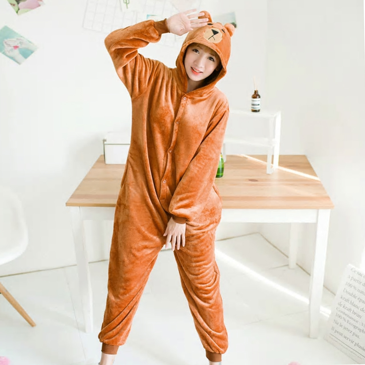 Кигуруми Медведь Рилаккума для взрослых костюм комбинезон