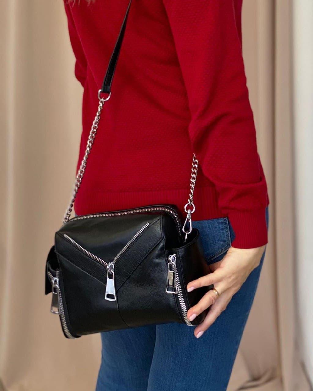 Женская кожаная сумка polina&eiterou большая черная
