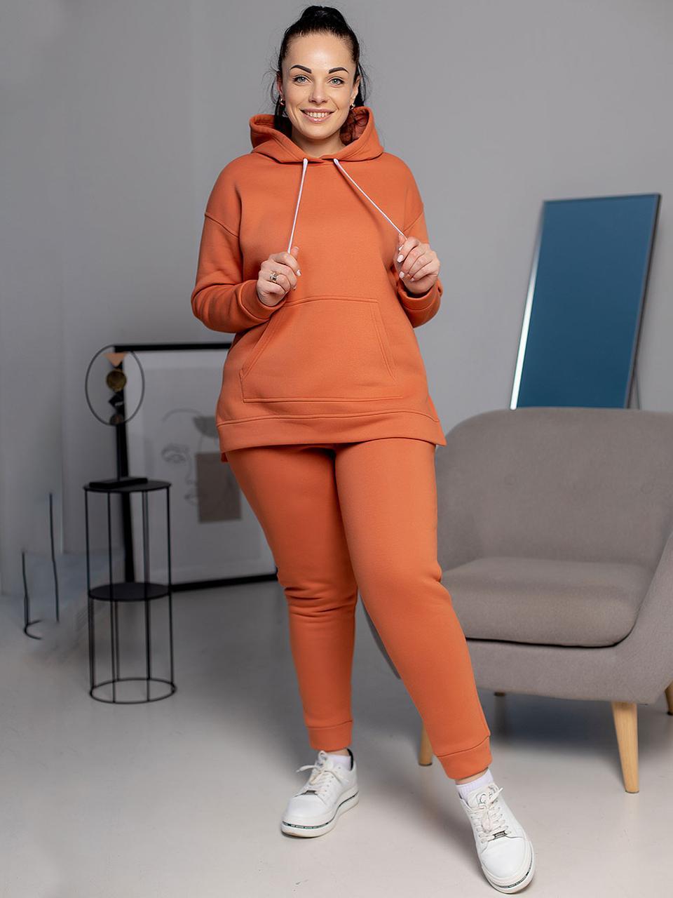 Спортивный женский костюм зима кирпичный ХL
