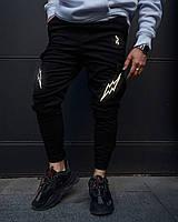 Теплые брюки карго мужские Огонь Пушка Angry Flash черные, фото 1