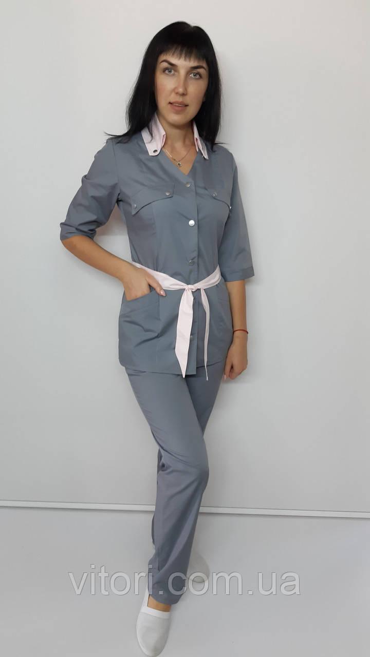 Медичний жіночий костюм Тіффані бавовна три чверті рукав на кнопках