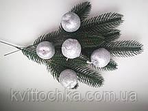 Яблоки в глиттере, 4 см, цвет серебро, цена указана за 1 шт